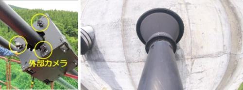 左写真の黄色で囲った箇所が、コロコロチェッカー本体に取り付けた外部カメラ。右写真は外部カメラで撮影したコンクリート主塔との接続部(写真:西松建設)