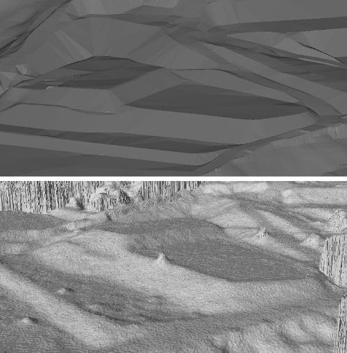 開発した手法(上)と一般的な手法(下)による測量成果を同一地点で比較した。下は勾配の急変部の輪郭がぼやけている他、植生が点群に変換されて表面がざらついている。小山のような突起は計測時のノイズなど(資料:北斗測量設計社、日本測量協会)