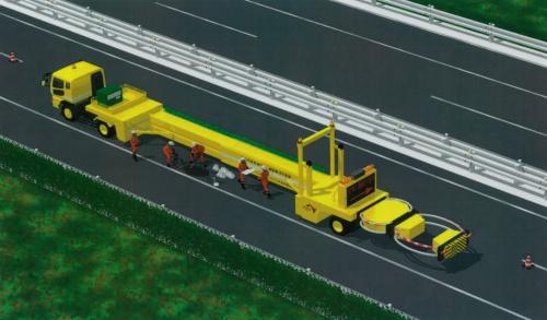 「大型移動式防護車両」の作業時のイメージ。車両の中ほどにある保護ビームが伸びて片側に移動し、長さ約10m、幅約2mの作業スペースを確保する。保護ビームの後ろには衝撃緩衝装置を連結している。作業時の車両全体の長さは23.4m(資料:中日本高速道路会社)