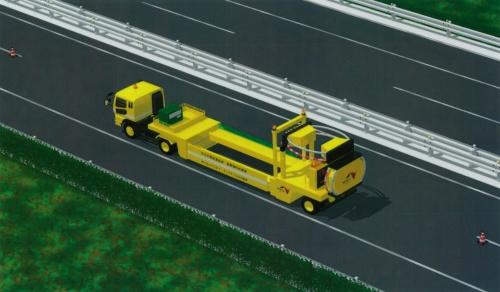 走行時のイメージ。後部の衝撃緩衝装置を上方向に折りたたむように固定して走る。走行時の全長は15.9m(資料:中日本高速道路会社)