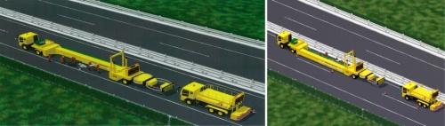 走行車線の規制時(左)と、追い越し車線の規制時(右)の車両の配置イメージ。遮りたい車線の側に保護ビームを移動させる(資料:中日本高速道路会社)