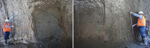 模擬トンネルで実施したコンクリートの吹き付け実験の様子。写真左はオペレーターによる手動。吹き付け位置の差は、上下±2cm、左右±1cm以内、厚さの誤差は±3cmに収まり、システムの有効性を確認した(写真:熊谷組)