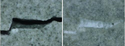 左は幅0.2mmのひび割れ。右は水を供給して7日後にひび割れが閉塞した様子(写真:CORE技術研究所)