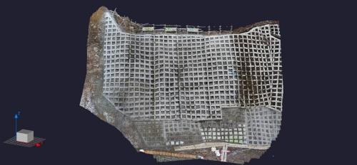 ドローンを使った空中写真測量で作成した3次元の点群データ(資料:ライト工業)