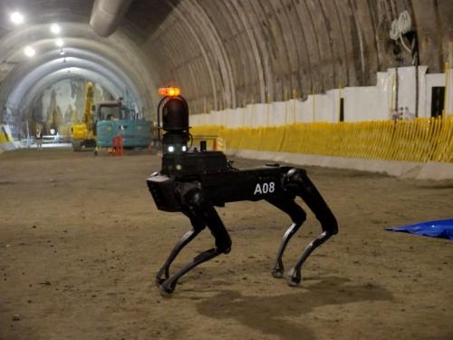 トンネルの工事現場に導入した四足歩行型のロボット「Spot」。稼働時間は最長90分。サイズは幅50cm、長さ1m10cm、高さ19.1cmで、立ち上がった状態での高さは84cm。重量は28kg(写真:鹿島)