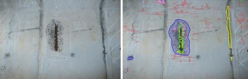 左はコンクリートの剥離、鉄筋露出箇所の画像。右は自動検出して対象をマーキングしている画像(資料:富士フイルム)