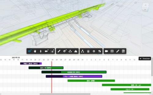 4D工程表のイメージ。バーチャートの工程表をクリックすれば、そのときの工事内容を3Dビューワーで確認できる(資料:コルク)