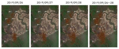 鳴き声からシカのいる位置を可視化。移動状況や分布が分かる(資料:東京大学生産技術研究所・沖一雄特任教授らの研究グループ)
