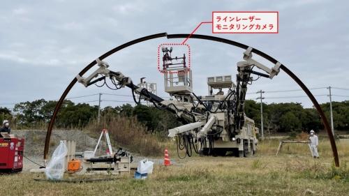 大成建設がアクティオと共同で開発した「T-支保工クイックセッター」工法で、支保をつなぐ様子。エレクターの作業用バスケットにラインレーザーとモニタリングカメラを搭載。操縦席で映像を確認しながらエレクターを操作している(写真:大成建設)