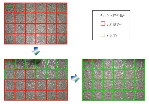 モニターに表示された、判定結果を示すメッシュ枠の色の変移(資料:安藤ハザマ)