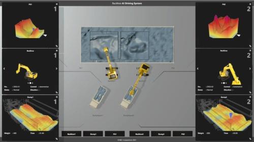 自律運転中のシステム管理画面(写真:大林組)