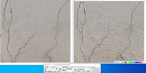 パソコン画面のイメージ。左が点検現場でコンクリートの表面を撮影した元の画像で、右がVIS(錯視誘発画像特徴強調システム)の処理でひび割れを強調表示した画像(写真:日本工営、日本システムウエア)