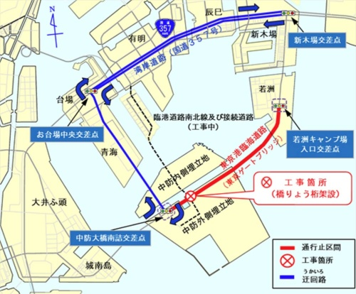 「工事箇所」が臨海道路横断橋の架設位置。週末の夜間、赤線の区間を通行止めにして架設した(資料:東京都)