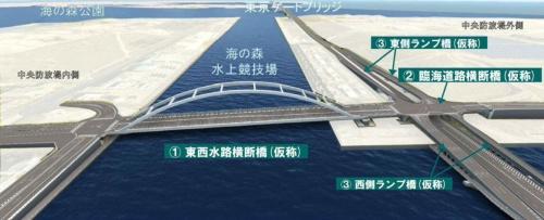 現場周辺を西側から見た完成予想図。今回の橋桁は「臨海道路横断橋」に当たる。「海の森水上競技場」は2020年東京五輪のボート・カヌー競技の会場として整備される(資料:東京都)