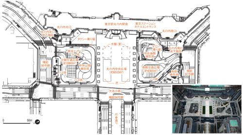 東京駅丸の内駅前広場の平面図。交通広場の事業主体である東京都は、JR東日本に整備を委託。同社が中央広場と一体的に整備した。JR東日本の資料を基に日経コンストラクションが作成(写真:JR東日本)