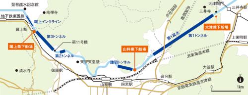 びわ湖疏水船のコース平面図。コースは全長7.8km。明治期に完成した第1~3トンネルの坑口の他、第11号橋、蹴上(けあげ)インクラインなどは国の史跡に指定されている。京都市の資料を基に日経コンストラクションが作成