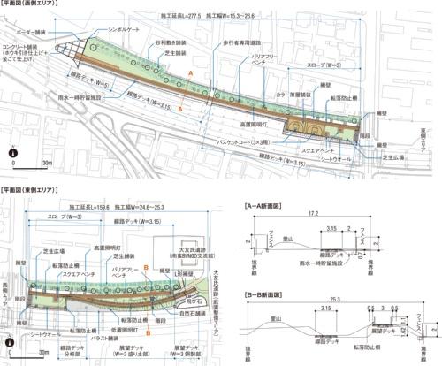 線路敷ボードウォーク広場の一般図。大分市の資料を基に日経コンストラクションが作成