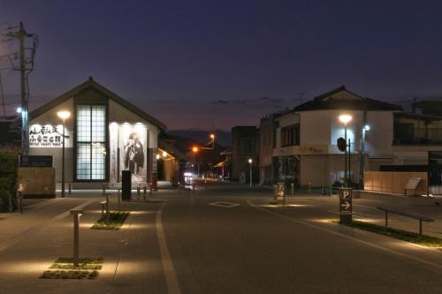 松崎地区の街路の夜景。植栽帯の中にフットライトが見える(写真:生田 将人)