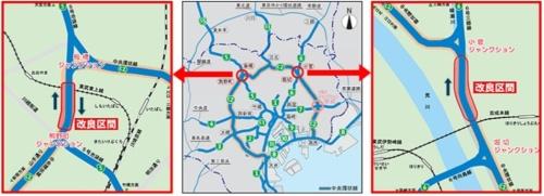 首都高中央環状線で4車線化するJCT間の位置図(出所:首都高速道路会社)