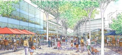 首都高都心環状線を覆う人工地盤上に造った空間のイメージ(出所:中央区)