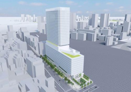 泉岳寺駅地区市街地再開発で整備する再開発ビルのイメージ(資料:東京都)