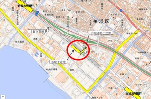 ■幕張新駅の位置図