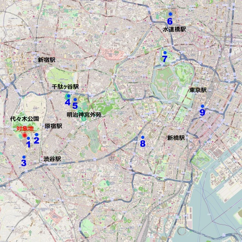 都心部の主要な大規模スポーツ施設、音楽施設を示した。中西氏は、「ここに来てライブ市場全体の売り上げが頭打ちになっている。明らかに施設不足が原因なので、渋谷に立地する本構想は非常に魅力的だ」と語る。1:NHKホール、2:国立代々木競技場、3:オーチャードホール、4:東京体育館、5:新国立競技場(建設中)、6:東京ドーム、7:日本武道館、8:サントリーホール、9:東京国際フォーラム(資料:OpenStreetMap上に日経 xTECHが追記、(c) OpenStreetMap contributors)