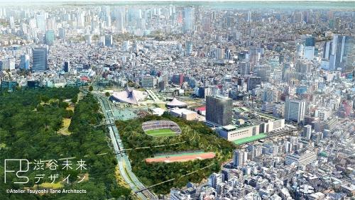 渋谷未来デザインが発表したパース。現時点でのイメージで、「今後構想が具体的な計画に発展した段階で、しかるべき検討体制の下で設計を行う」としている。3〜4万人を収容できる規模を想定。都立公園内のため、規制緩和の措置がなければ成立しない。現在は野外ステージや球技場のある地区で、緑地を削らずに済む(資料:Atelier Tsuyoshi Tane Architects)