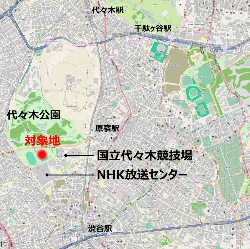 構想では、国立代々木競技場の西側のB地区を対象地としている。「国営の競技場はクラブのホームスタジアムにはなり得ないので、1万5000人以上を収容可能でナイター設備が整っている、というJリーグ(J1)の試合の開催条件を満たす施設は、いまだ東京23区内にない。Jリーグの発足前後にロンドンなどを視察して以降、なんとか23区内につくってほしいと願ってきた」と川淵氏は語る(資料:OpenStreetMap上に日経 xTECHが追記、(c) OpenStreetMap contributors)