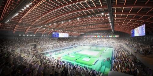 大会時の内観イメージ。木造梁のスパンは約90mに及ぶ。観客席にも木を採用した。大会後は観客席をすべて撤去し、東京都が約10年間、展示場として使用する計画だ(資料:Tokyo2020)