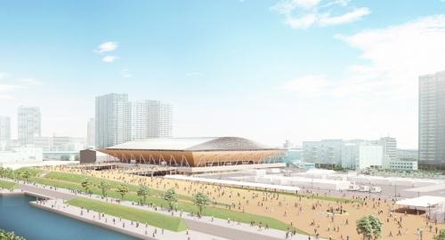 有明体操競技場の完成イメージ。日建設計が基本設計、清水建設が実施設計と施工を手掛ける。清水建設の技術アドバイザーとして、斎藤公男・日本大学名誉教授が参画している。事業主体は組織委員会だ。主競技場の延べ面積は約3万5200m2(資料:Tokyo2020)