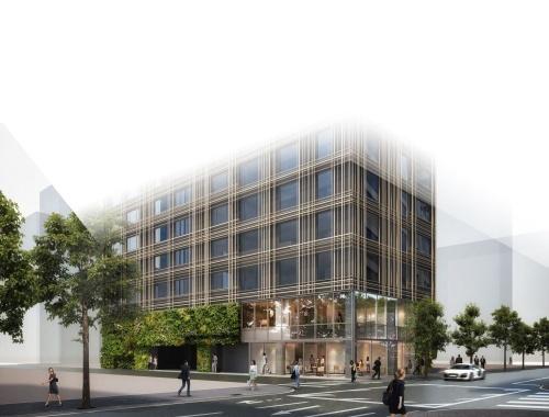 「東京エディション銀座」の外観の完成イメージ。2021年に開業を予定する。「エディション」は、マリオット・インターナショナルと世界的なホテリエであるイアン・シュレーガー氏とのコラボレーションによって生まれたホテルブランド(資料:森トラスト)