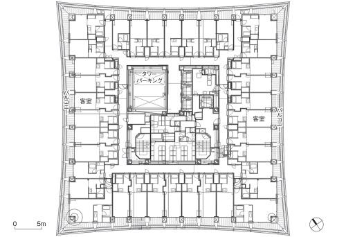 客室階平面図(資料:清水建設)