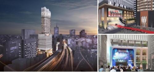 北西の大久保方面から見た高層複合施設(左)、建物に隣接する「シネシティ広場」と連動した映画イベント(右上)、音楽イベント(右下)の各イメージ(資料:東京急行電鉄、東急レクリエーション)
