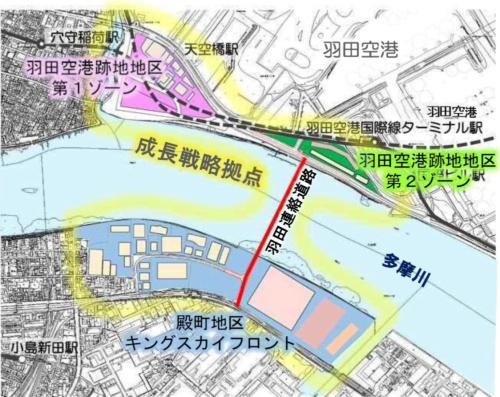 ■羽田連絡道路は川崎市の再開発地区と羽田空港を結ぶ