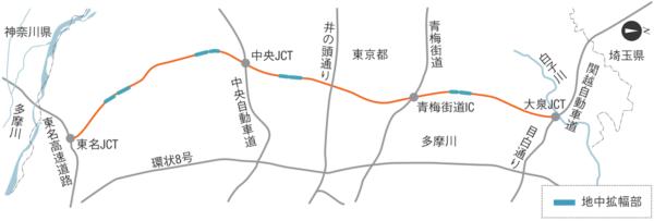 外環道都内区間の位置図。国土交通省や高速道路会社などの資料を基に日経コンストラクションが作成