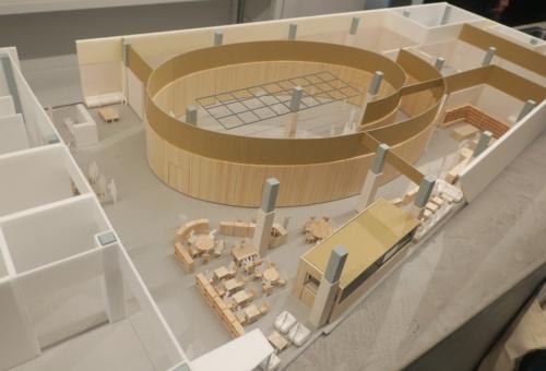 PLAY! MUSEUMの模型。渦巻をイメージした空間になる(写真:日経アーキテクチュア)