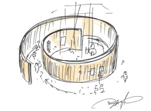 美術館「PLAY! MUSEUM」のスケッチ。渦巻のような形を想定している。絵本を中心に展覧会を実施(資料:手塚建築研究所)