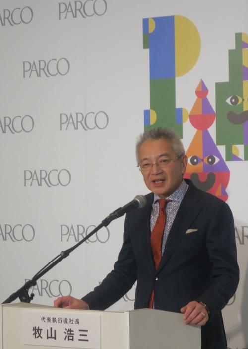 内覧会で会見したパルコの牧山浩三社長(写真:日経アーキテクチュア)