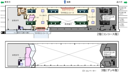 駅の平面レイアウト。中央に巨大な吹き抜けを設ける(資料:JR東日本)