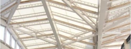 屋根を見上げた写真。障子をイメージして、屋根には膜材を採用した(写真:JR東日本)