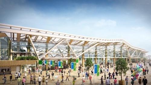 開業後の高輪ゲートウェイ駅の外観イメージ(資料:JR東日本)