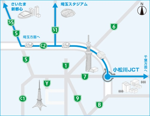 図中の「7」が小松川線、「C1」が都心環状線、「C2」が中央環状線。小松川線と中央環状線の湾岸線(図中の「B」)方面との間には連結路がなく、行き来できないので注意が必要だ(資料:首都高速道路会社)