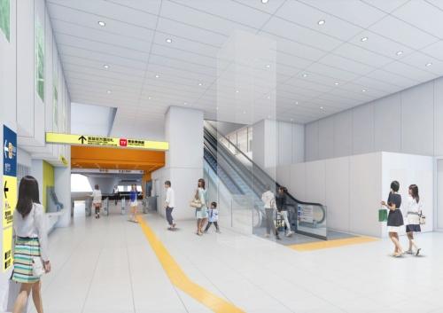 明治通り側コンコースのイメージ。エスカレータを上がると銀座線渋谷駅の新ホームに出る。東京メトロは新ホームの完成後、2020年度内に地上から新ホームへのエレベーターやホームドアを設置する。ホーム上にトイレも整備する計画だ(資料:東京メトロ)