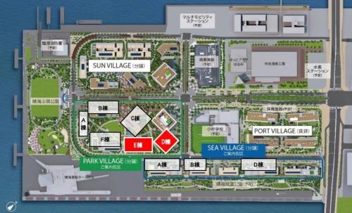 19年11月のPARK VILLAGE第1期2次(赤色の2棟)における販売時の街区図。建物の配置を理解するために掲載した(資料:HARUMI FLAG広報事務局)