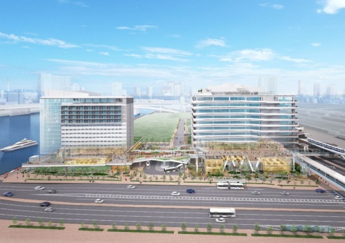 ホテル棟(左)とオフィス棟(右)の間にバスターミナルを配置。その上のオープンスペースと建物内の歩行者デッキで、市場前駅と晴海運河をつなぐ(資料:清水建設)