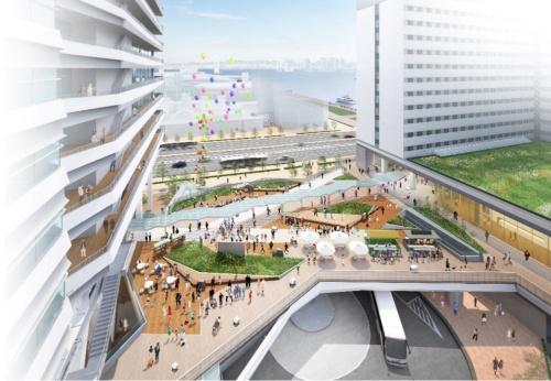 交通広場の上に設けるオープンスペース(資料:清水建設)