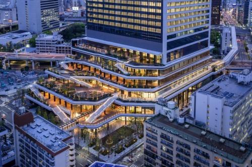 地上2~6階の屋外に設けた階段状の空間「スキップテラス」。水と緑を多用したデザインだ(写真:東急不動産、鹿島)