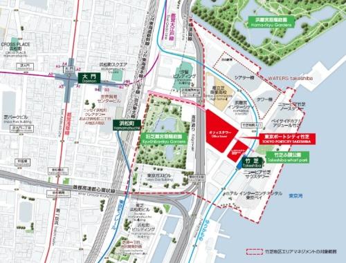 赤色で塗った部分が新街区「東京ポートシティ竹芝」。オフィスタワーとレジデンスタワーから成る(資料:東急不動産、鹿島)