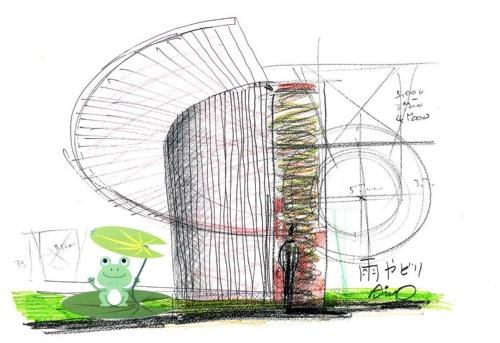安藤氏が掲げたトイレのコンセプトは「あまやどり」。資料は安藤氏によるスケッチ(資料:日本財団)